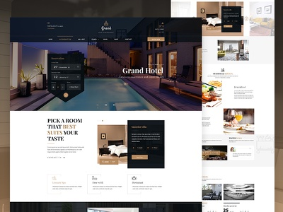 Hotel & Resturent Template - Homepage vacation travel tourism restaurant resort reservations rental motel lodge hotel hostel holiday guesthouse food accommodation