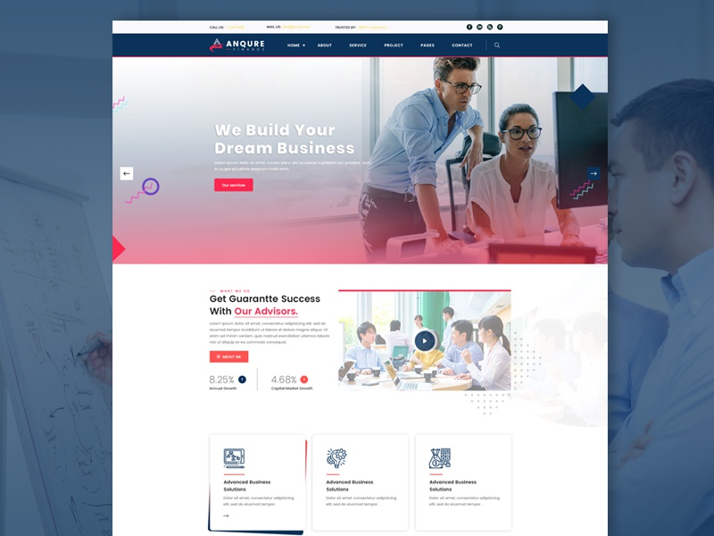 Business  &Consultant- Landing page agency ui design business corporate