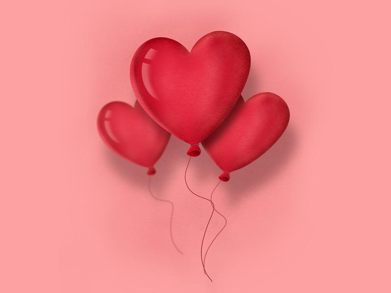 Happy Valentine 💕 (Valentines Dribbble Rebound) ipadpro procreateapp valentine valentine day balloons love hearts illustration