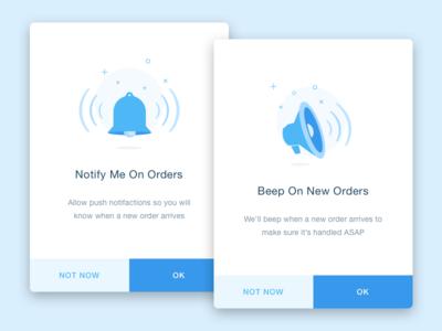 Notifications pop ups notification sound pop up wix orders restaurant ios native app mobile