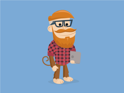 The Hipster Monkey designer laptop glasses beard drawing illustration monkey hipster