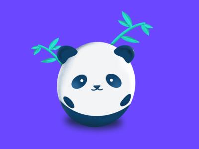 Mini Panda drawings bear round mini cute leaves bamboo illustration panda
