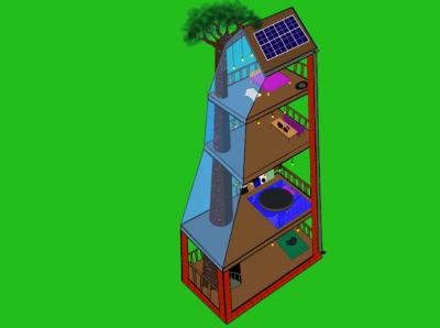 dream house architecture солнечные батареи дом на дереве чертеж дома дерево solar batteries дом в разрезе рисунок в разрезе иллюстрация treehouse garland house baobab nature illustration