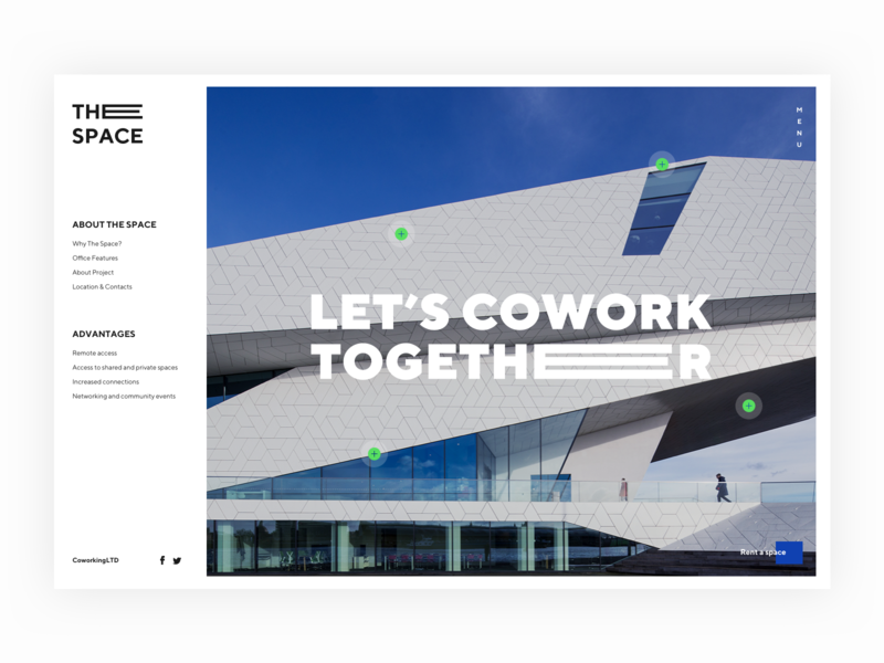 Coworking. Miss you hero image homepage landing page menu ui design uixdesign coworking space coworking office space office web typography ux ui logo art direction