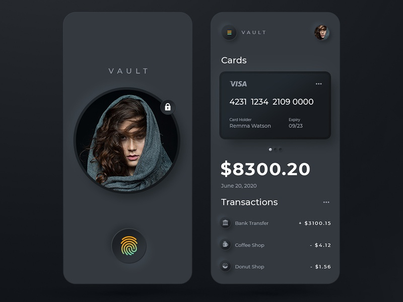 VAULT Mobile Banking. Dark Mode ⬛️ identity mobile banking inspiration finance fintech ios dark ui login screen fingerprint application app vault minimal uidesign ui  ux ui banking app bank app app design