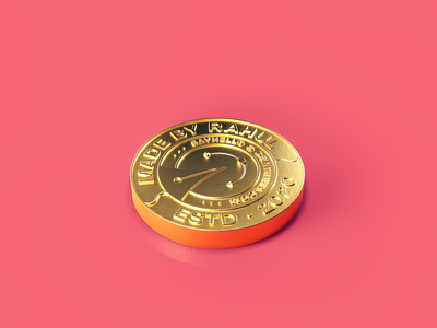 MadeByRahul 3D Badge gold texture gold badge realism realistic instagram post 3d object arnold renderer arnoldrender arnold cinema 4d c4d 3d render render dsintheta madebyrahul 3d coin 3d artwork 3d 3d art