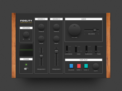 Skeuomorphic Audio Controller UI 3d shadows download freebie figma ux ui interface app web app synthesizer amplifier device music audio device physical skeumorphism skeuomorphism skeuomorphic