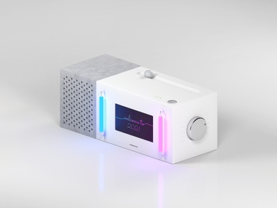 A Modern Jukebox (Stone & Ceramic) lights lightsaber 2021 isometric art material metal speaker minimal futuristic display neon ceramic stone jukebox concept light box object physical c4d 3d