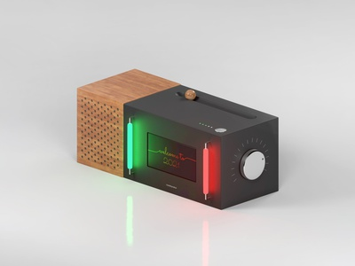 A Modern Jukebox (Metal & Wood) dark mode 3d art 3d light box concept object display futuristic arnold c4d cinema4d speaker wood texture metal material isometric art 2021 lightsaber lights