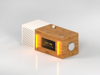 A Modern Jukebox (Leather & Wood) futuristic concept ui display isometric speaker lights neon lukebox jukebox objects physical render arnold cinema4d c4d 3d 3dart box wood