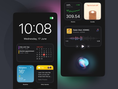 Smart Speaker UI (WIP) calendar music design app ui  ux voice glows gradients dark ui dark mode ios14 widgets smart ui smart device smarthome futuristic user inteface apple siri ui