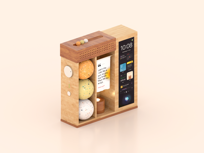 Smart Home Device (Concept) quotes ui widgets arnold render physical render 3d art concept art concept design cinema4d smart speaker smart home app smart device wood japanese style materials realistic 3d futuristic c4d 3d physical product
