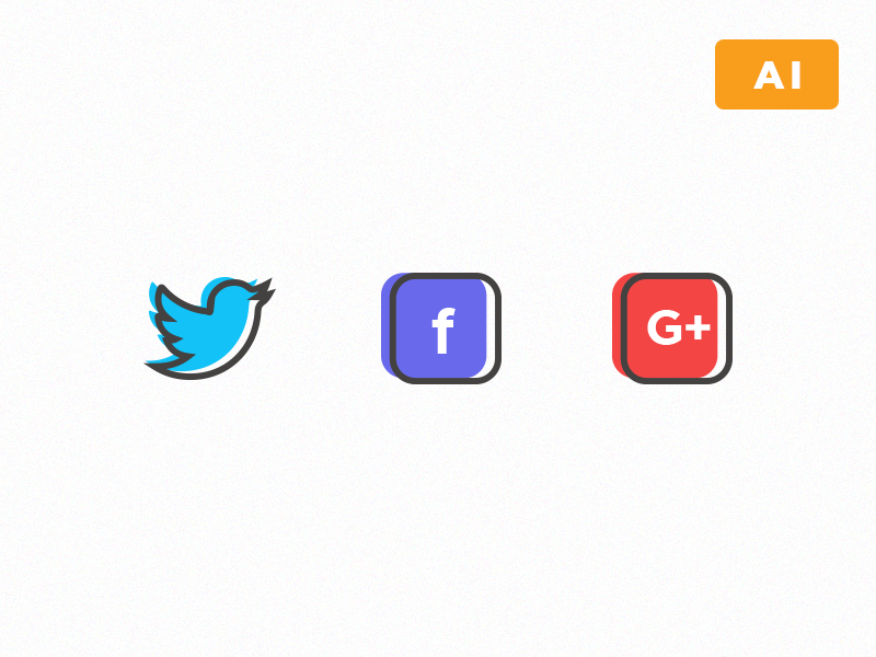 Free Social Network Icons ai color freebie vector google facebook twitter icons line social
