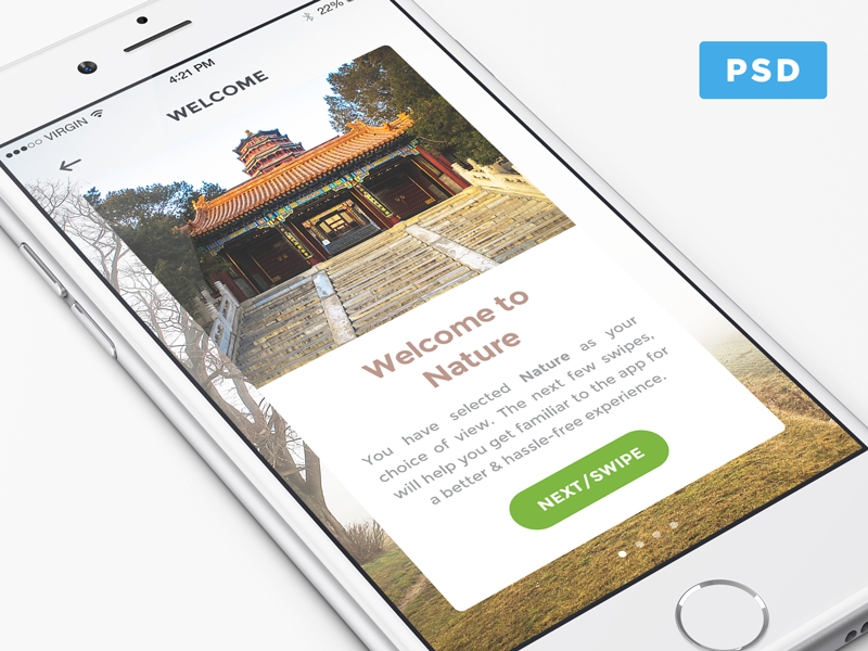 Nature Discovery App Interface Freebie app ui welcome card perspective psd free freebie ios nature