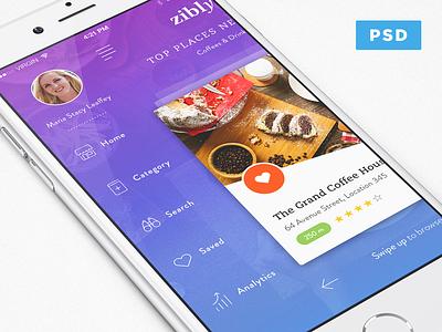 Zibly_Food Discovery App Freebie ivy ios app place restaurant search local discovery ui free psd freebie food zibly