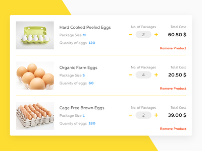 Cart Screen Preview for Egg Selling Website