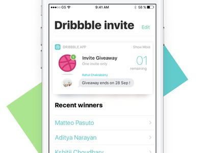 1 Free Dribbble Invite 🏀 ios iphone debut ticket matteo iphone7 ios10 invitation draft giveaway invite dribbble