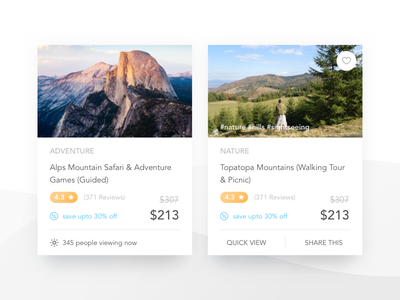 Mini Product Cards Variation quickview hover adventure ecommerce buy experience discover travel headout design card product