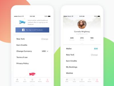 Mobile Profile/Account Page