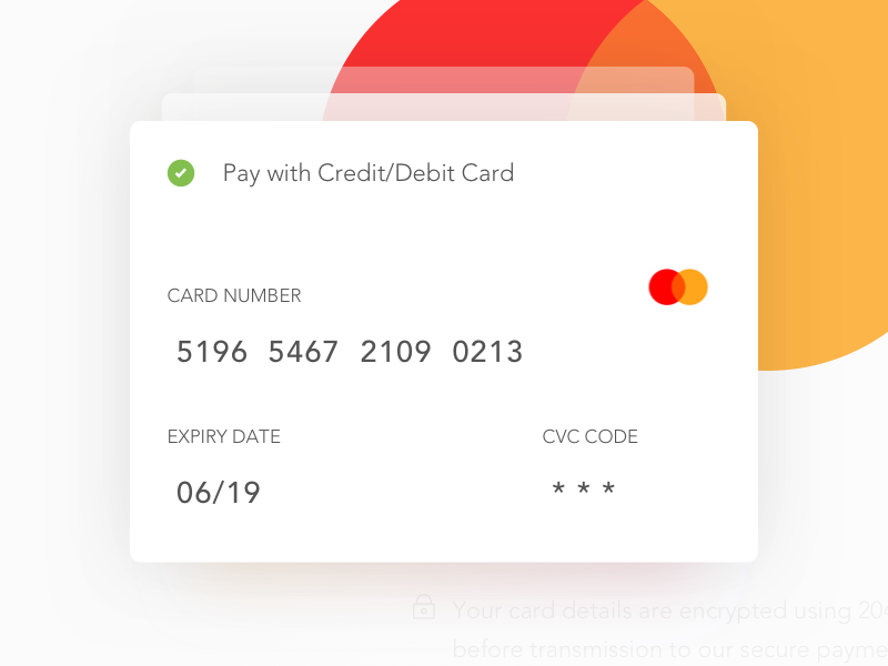 Payment card dribbble shot
