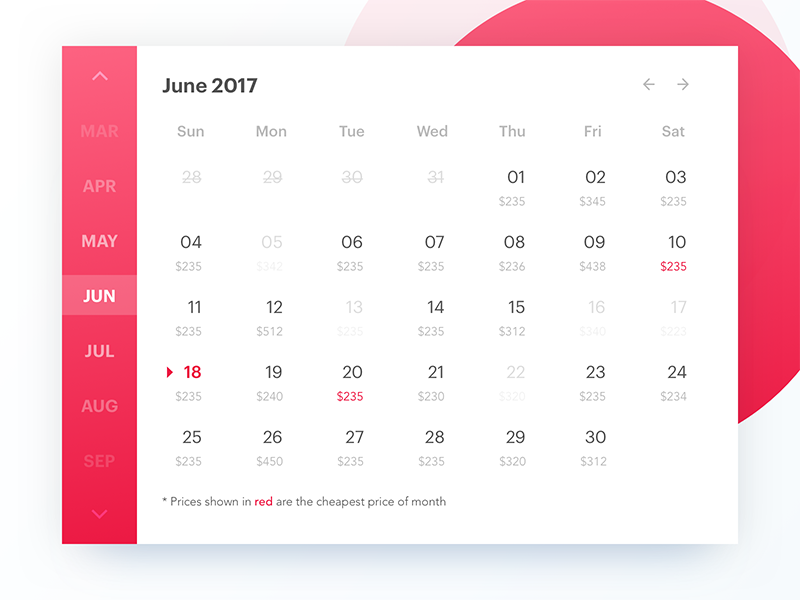 Desktop calendar dribbble shot