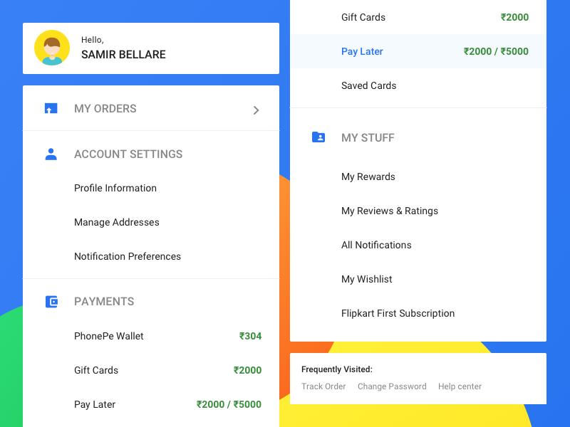 My Accounts Sidebar hamburger website desktop shopping ecommerce flipkart items list menu sidebar profile account