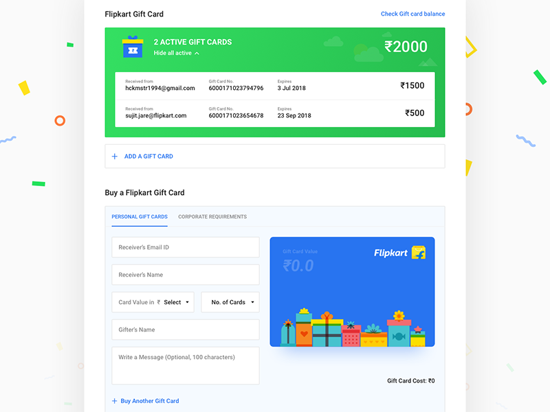 Flipkart Gift Cards ui flipkart gift card balance settings profile account shopping illustration flipkart ecommerce gift gift card