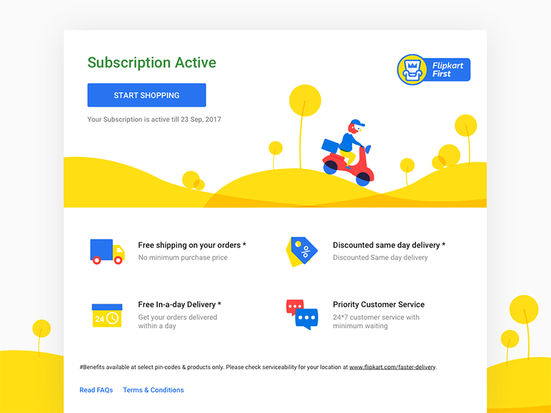 Flipkart First Subscription delivery scooter shopping customer ecommerce illustration vip subscription amazon prime prime flipkart membership