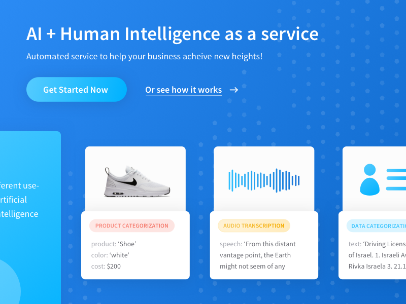 Artificial + Human Intelligence Project landing page business audio automation service cards hcd human intelligence artificial hi ai