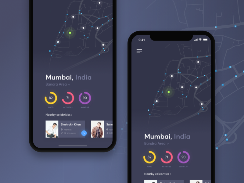 Celebrity Locator Fun/Concept nearby location bollywood bandra mumbai google maps mapbox celebrity concept map iphone10 iphonex