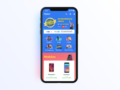 Flipkart Big Billion Homepage Ideation bigbilliondays mockup iphone 10 homepage iphonex shopping festive ecommerce flipkart sale billion big