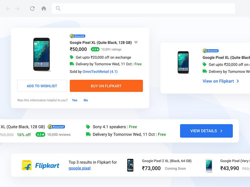 Flipkart Shopping Buddy widgets ui shopping modules flipkart extension ecommerce chrome cards buddy browser assistant