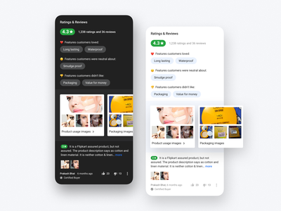 Ratings & Reviews (Dark Theme) collage emotion emoji rate reviews module ratings night mode dark theme dark mode dark ui photos design ecommerce experience flipkart ui