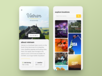Travel Aggregator App - About City Screen location design app search details photos cards explore neomorphism neuomorphism typogaphy city activity ui experience travel