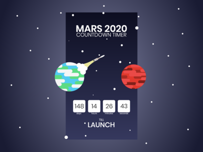 Mars 2020 countdown timer
