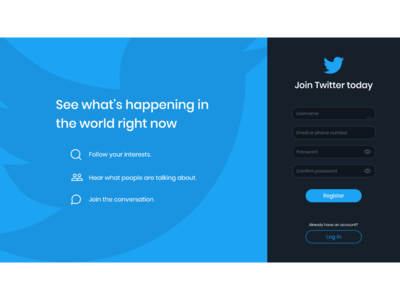 Twitter register page redesign