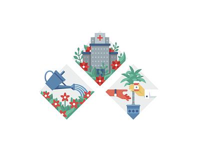 Illustrations for Trellis Rx sketch medicine graphic colorful cartoon illustrator vector simple diamond trellis flower hospital illustration underbelly animation