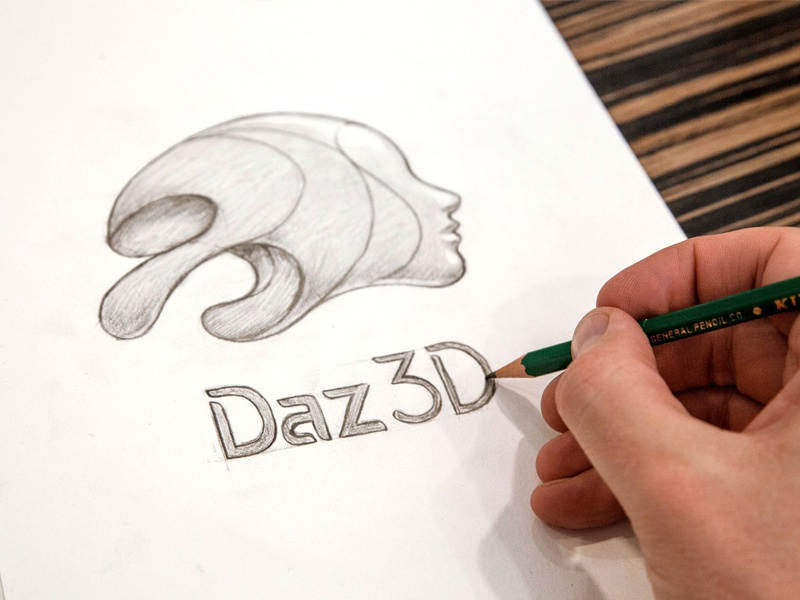 Daz 3D Logo Sketch 3d pencil lettering dimensional drawing sketch wip logo