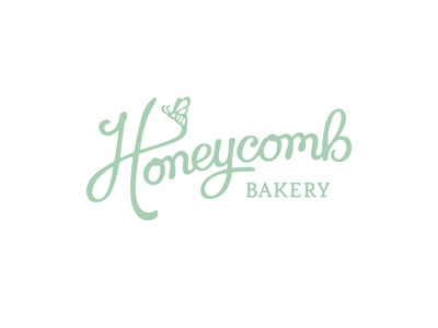 Honeycomb Bakery Logo branding logotype lettering bakery honeycomb bee custom script type design logo