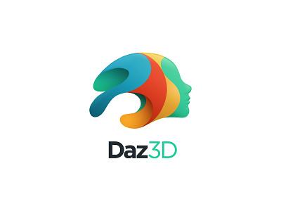 Daz Logo figural face gradients vector dimensional colorful color 3d daz logo