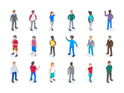 Isometric Characters crowd dimensional vector simple people colorful illustration characters isometric