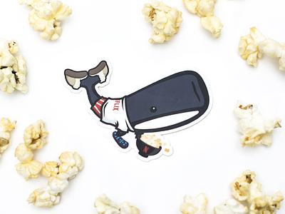 Netflix Monstro Dribbble mascot pajamas slippers illustration chill popcorn netflix sticker whale monstro