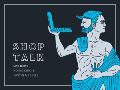 Super Team Deluxe Shop Talk super team deluxe underbelly shop talk justin rogie poster statue linework illustration roman god faces two