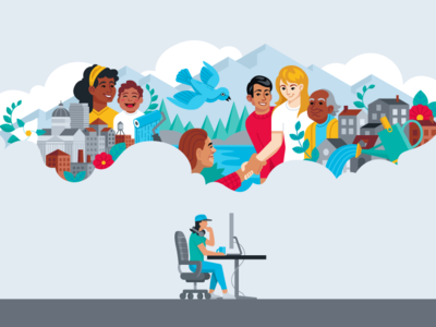 Social Good Dribbble colorful vector illustration flat salt lake city utah cloud mountain good social design
