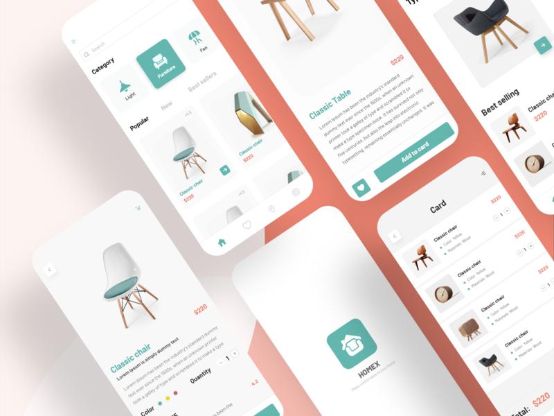 Interiors App Design design ux illustration ui