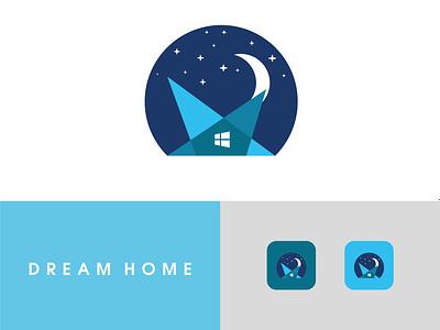 Dream home Logo Design home abatact icon minimal flat app ux illustration blue vector logo design