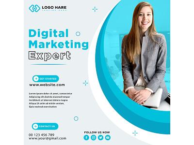 Digital marketing expert social media post branding abstract illustration business vector graphic design