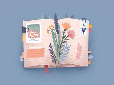Summer diary summer flowers book color colorful 2d procreate app procreate illustration