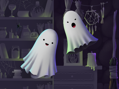 Ghosts interior game halloween mobile game mobile app character ghost design 2d procreate app procreate illustration