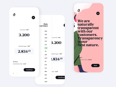 Landing (art) 👌 & payment form first step with pick currency ov mobile